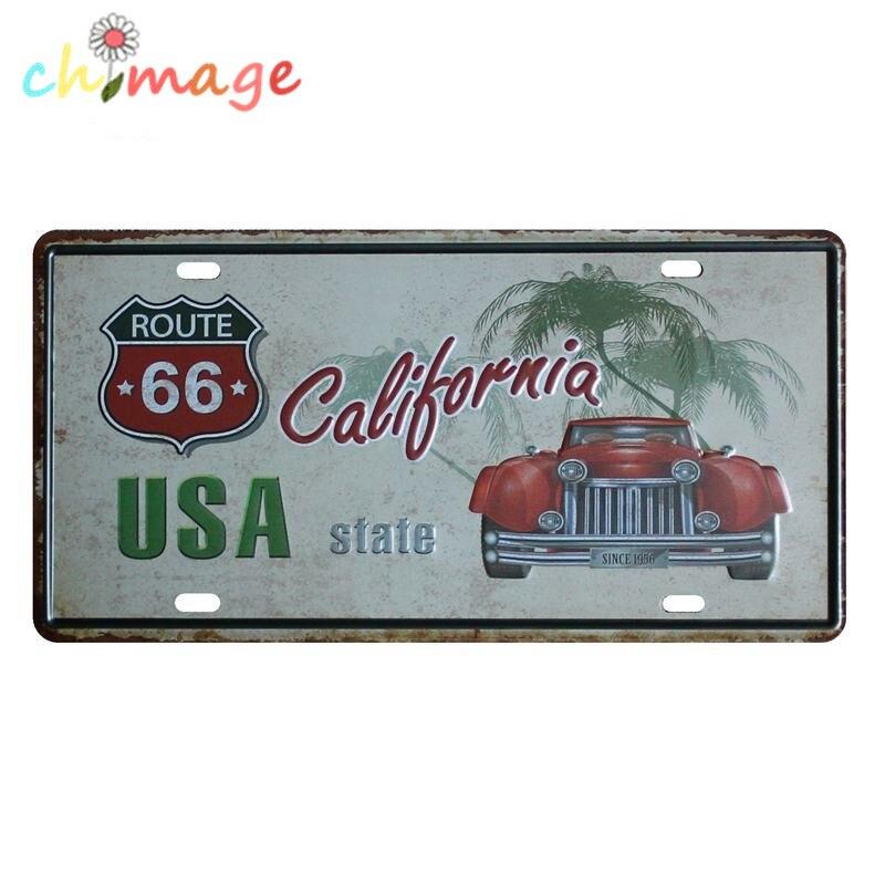 USA CALIFORNIA CAR License CAR PLATE Vintage Tin Sign Bar