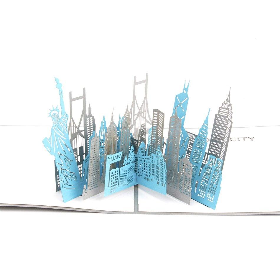 Vintage 3D Pop Up Greeting Cards Bulk New York Skyline Birthday Postcards 3060S Pack Of 10