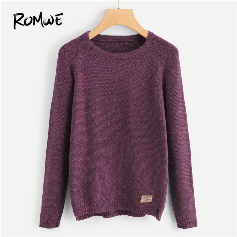 ROMWE Purple Patched Decoration Sweater Women Casual Plain Clothes Womens  Sweaters Winter Autumn Ladies Pullovers Jumper 0f55d437c