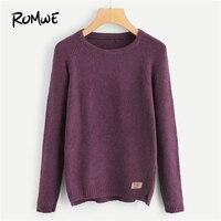 ROMWE фиолетовый украшенный свитер, Женская Повседневная однотонная одежда, женские свитера, зима-осень, женские пуловеры, джемпер
