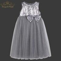 2018 Summer Girls Dress Anna Elsa Sequined Dress Party Vestidos Teenagers Big Bownot Princess Dress For