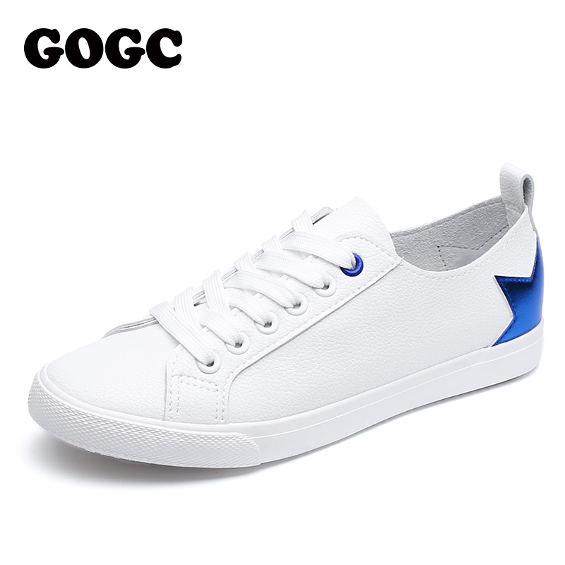 GOGC Brand Soft Sneakers Breathable Summer Women Shoes With Star Lace Up Moccasins For Women Slipony White Sneakers Women G720