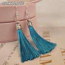 Vintage Ethnic Long Tassel Earring Geometric Multicolor Bohemia Hanging Dangle Drop Earrings For Women Party Jewelry Accessories