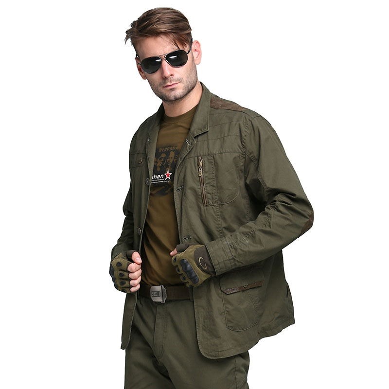 New Military Men's Blazers Designer Fashion Army Green 100% Cotton Outwear Plus Size Casual Blazers For Men Coat M~4XL AF5079