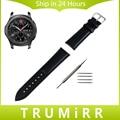 22mm bezerro genuína pulseira de couro + ferramenta pin para samsung engrenagem Clássico S3 Fronteira Watch Band Alça de Pulso Pulseira Preta marrom
