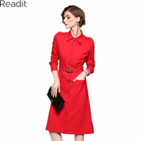 Readit Pure Color Dress 2017 Autumn Full Sleeve Red Dark Blue Dress Sawtooth Shape Front Button