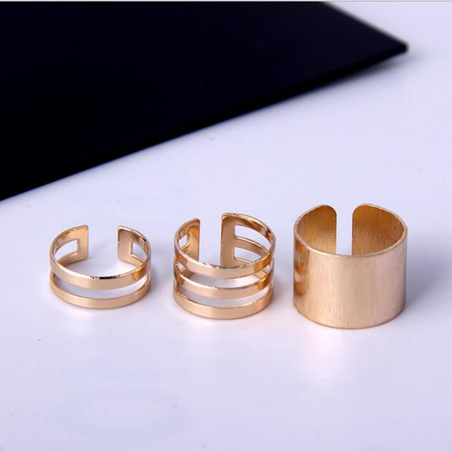 1 Set/3 Pcs Punk Gold Silver Rings 5