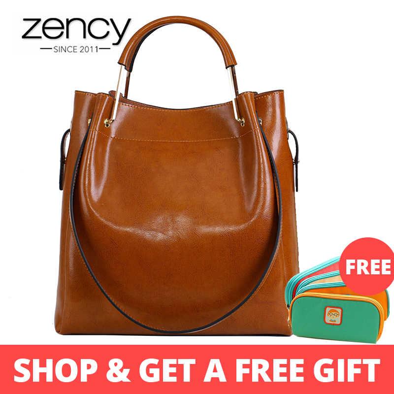 Zency Moda Kahverengi 100% Hakiki Deri Kadın Çanta Basit Seyahat Çantası Büyük Kapasiteli Bayan omuz çantaları Crossbody Çanta