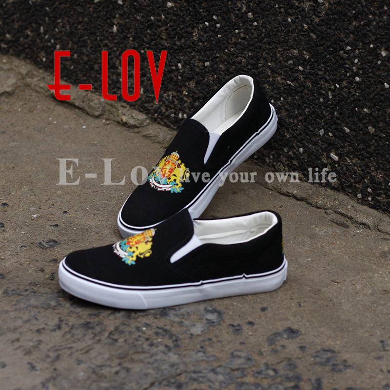 E-LOV New Design Bulgaria Country National Emblem Canvas Shoes Printed Bulgarian Casual Loafers Free Shipping e lov women casual walking shoes graffiti aries horoscope canvas shoe low top flat oxford shoes for couples lovers