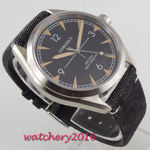 39mm Corgeut Black Dial Sapphire Glass Brushed Case Miyota Automatic Mechanical Men's Watch цена и фото