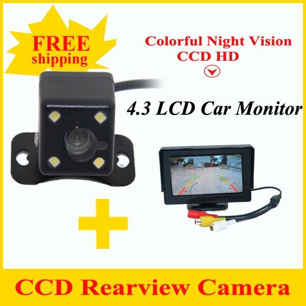 HD видео авто монитор парковки, светодиодный ночного видения заднего вида, CCD Автомобильная камера заднего вида с 4,3 дюймовым зеркалом заднег