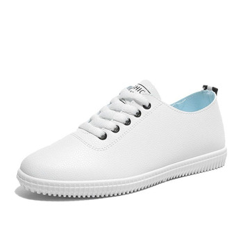 Women Sneakers White Vulcanized Shoes Lace Up Round Toe  1