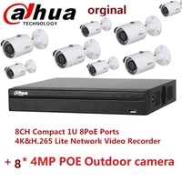 Dahua 4K P2P NVR Video Recorder NVR4108HS 4KS2 8P 8CH H.265/H.264 Up to 8MP resolution with 8 pieces 4MP poe cameras kits