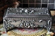 """Handwork tamanho 7 """"caixa De jóias de Metal/trinket-sellig Decoração caixa de presente Estanho banhado rose design de jóias Tibetano prata Latão"""
