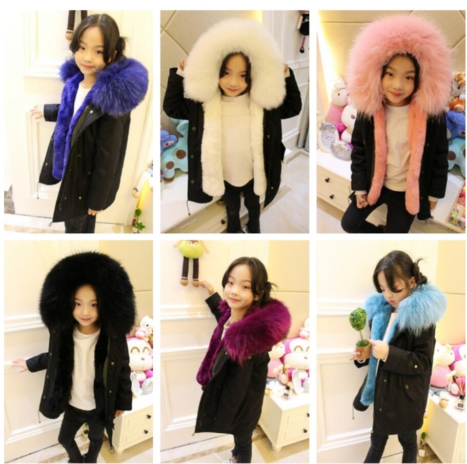 Kids Boy Girl Loose Winter Coats Children's Outerwear Warm Rex Rabbit Fur Natural Raccoon Fur Collar Hooded Jackets winter kids rex rabbit fur coats children warm girls rabbit fur jackets fashion thick outerwear clothes