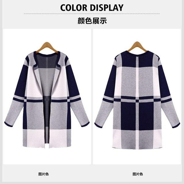 2015 высокое качество новых женщин вязать шерстяные пальто Европа свободные плед пальто кардиган большой размер женщин О-Образным Вырезом вязать palid пальто