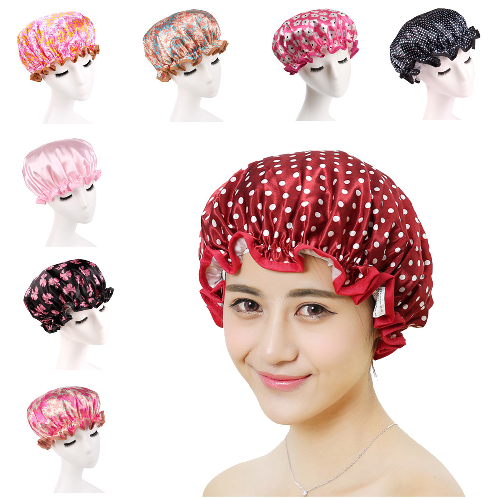 2018 New Fashion Women Shower Caps Colorful Bath Shower Hair Cover Adults Waterproof Bathing With High Quality Hot Sale Top#30