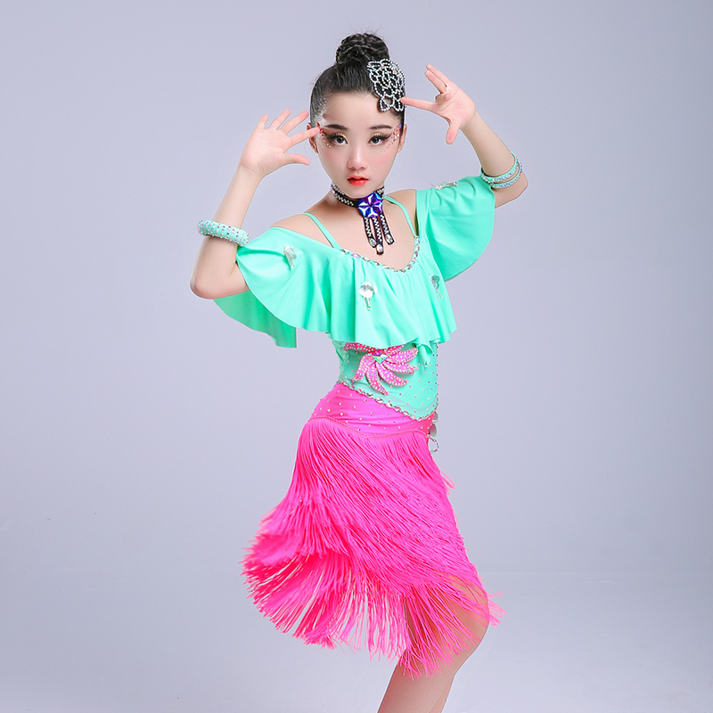 tassel ballroom dancing dresses skirt kids fringe children professional latin dance dress for girls salsa cha cha samba tango