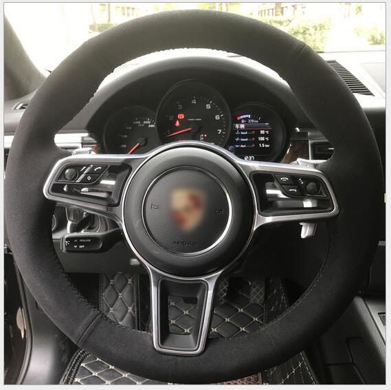 For Porsche Cayenne Black Hand Sched Car Steering Wheel Cover Custom Special Automobile Handle Sleeve