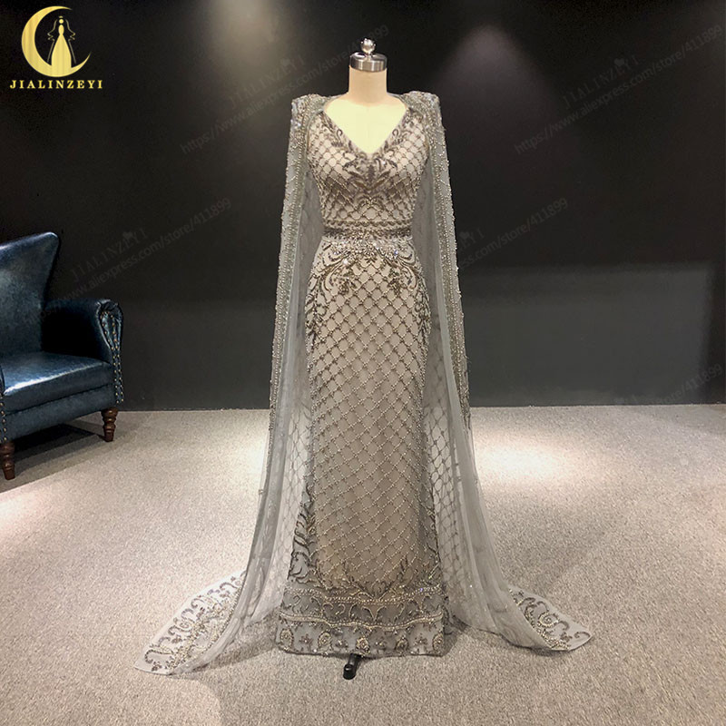 2019 Rhine Zuhair Murad Gray Shawl Luxurious Hand Work Mermaid V Neck Two Pieces Formal Dresses Evening Dresses