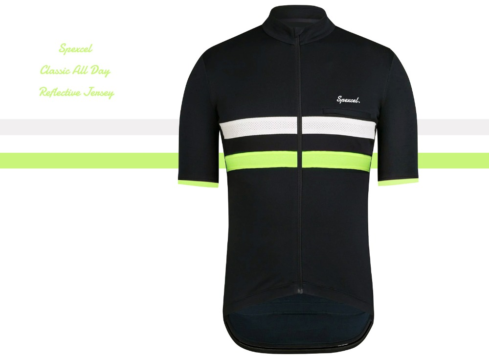 SPEXCEL 2019 New classic 3 season middle layer black with Reflective stripe cycling Jersey Anti-sweat Short sleeve chest pocketSPEXCEL 2019 New classic 3 season middle layer black with Reflective stripe cycling Jersey Anti-sweat Short sleeve chest pocket