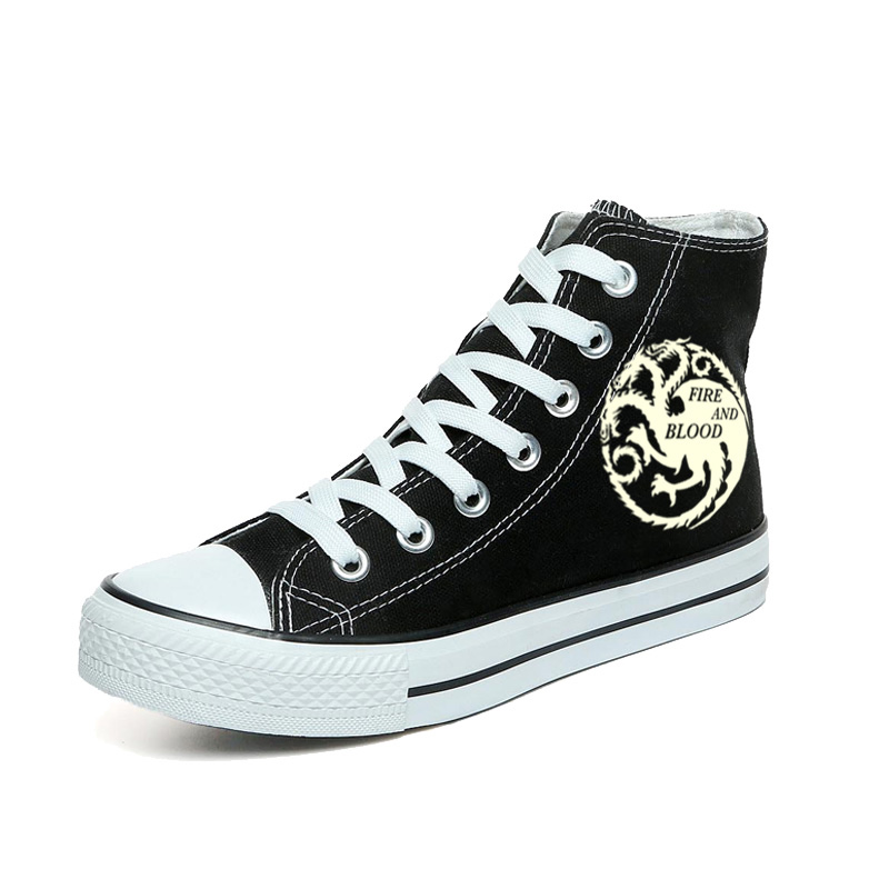 The Game of Thrones Luminous Canvas Shoes The Fire and Blood Hand Painted Shoes Men High Top Sneakers Glow in the Dark Shoes майка борцовка print bar jump in the fire