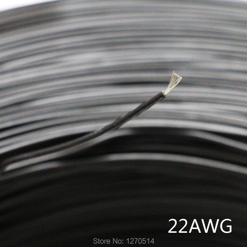 Tinned copper 22AWG Black cable electric wire PVC insulated wire Electric cable font b LED b