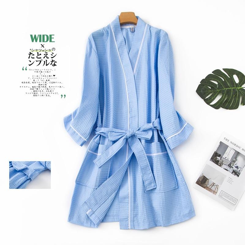 Casaul Unisex Couple/'s Bathrobes 3//4 Sleeves Thin Section Night-Robe Long Robe