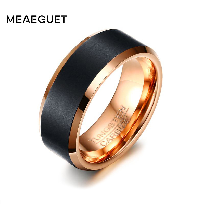Meaeguet 8mm Black Tungsten Carbide Ring Rose Gold Color Engagement Ring For Men Wedding Bands Jewelry USA Size