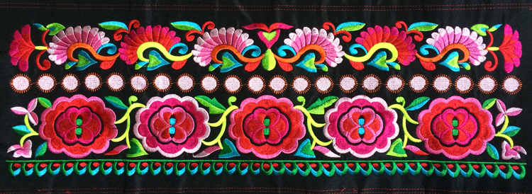 miao floral stitch fabric embroidery patch garment bag home textile applique trim ethnic nepal tribal india boho gypsy hmong DIY