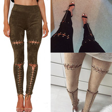 Women Sexy Belt Faux Suede Leisure Trousers Pencil Pants Cut 2017 New Fashion Casual Outfit Leggings Pants Women Pants Bandage