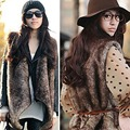 2016 New Women Faux Fur Collar Vest Waistcoat Warm Long Coat Outerwear Casual Sleeveless Gilet H038