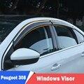 Окна козырек для Peugeot 308 2011-2018 Защита от солнца и дождя Защитная крышка для автомобиля Stylingg навесы укрытия 4 шт