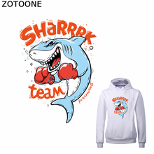 ZOTOONE Boxing Shark Iron on Transfer Patches Diy Patch for T-shirt Dress Sweater Funny Thermal Stickers Clothing Application