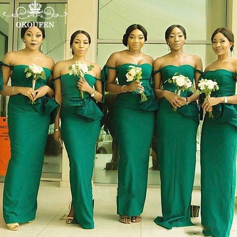 Green Mermaid Long   Bridesmaid     Dresses   For Women Off Shoulder 2019 Wholesale Price Maid Of Honor   Dress   Party Gown Corset Back