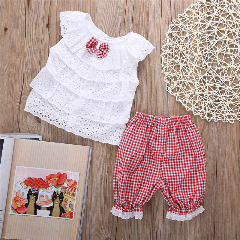 1c26721aeb23d 2PCS Toddler Kids Baby Girls Outfit Clothes Cute Lace Plaid Sets Sleeveless  shirt Tops+ short Pants Trousers Hot Sale