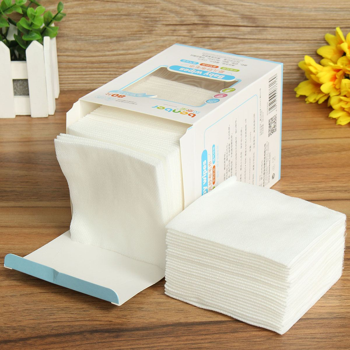 80pcs/box Rayon Disposable Handkerchiefs Baby Gauze Care Product New Born Baby Wipes White Cotton Towel