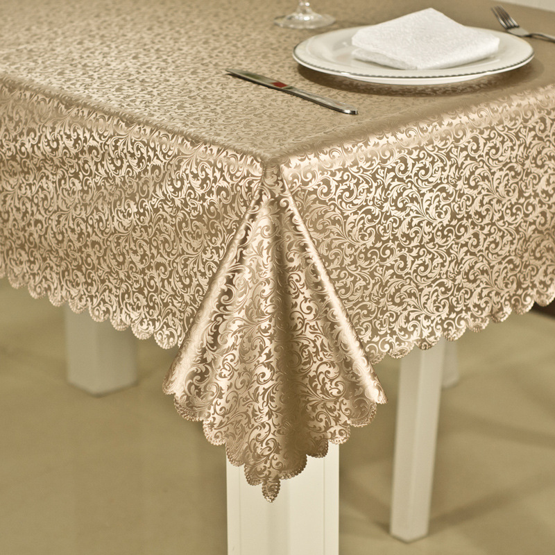 Luxury waterproof anti hot oil table cloth Jacquard printed flower tablecloth pattern checked Rectangular Round table