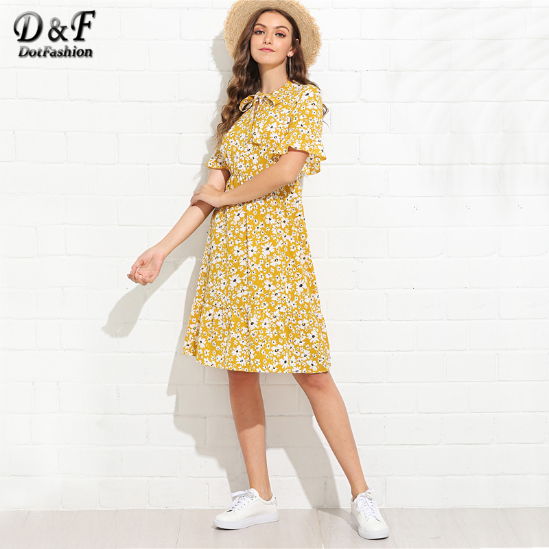 cfebdf44b28 Dotfashion Ruffle Hem Knot Tie Neck Calico Print Ginger Dress Summer Round  Neck Short Sleeve Knee Length A Line Holiday Dress-in Dresses from Women s  ...