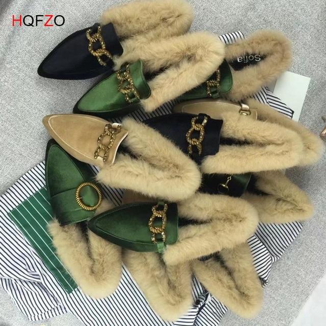 HQFZO Flock Fur Mocassins Deslizar Sobre Sapatos Moda Feminina Apontou Toe Fivela Plana e Sólida Inverno Outono Sapatos Mujer Calçados Casuais