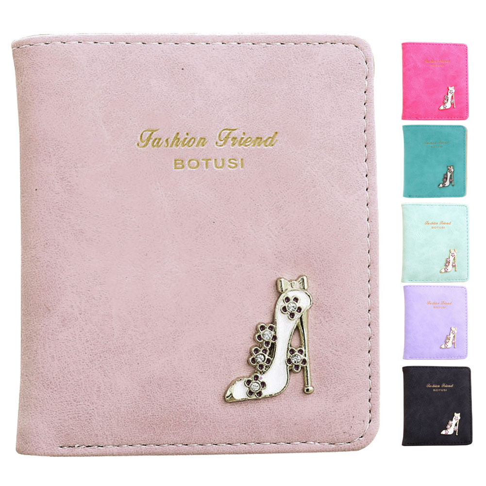 Lovely Women Short Purse Fashion Girl High Heels PU Leather Mini Slim Coin Purse Wallet Card Holders Handbag Bag цена 2017