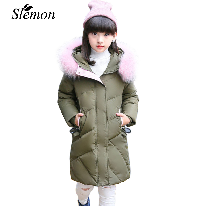 Children's Clothing Girls Winter Down Jacket 2018 Baby Kid Long Fur Thick Hooded Outerwear Toddler Girls Warm Padded Cotton Coat children duck down jacket coat with imitation fur boy girl removable hooded overcoat winter warm thick outerwear kid clothes