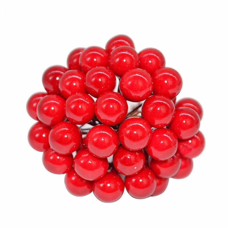 50 pçs/lote 10mm flor artificial estames de frutas cereja casamento plástico pérola bagas para o aniversário diy presente caixa decorada grinaldas