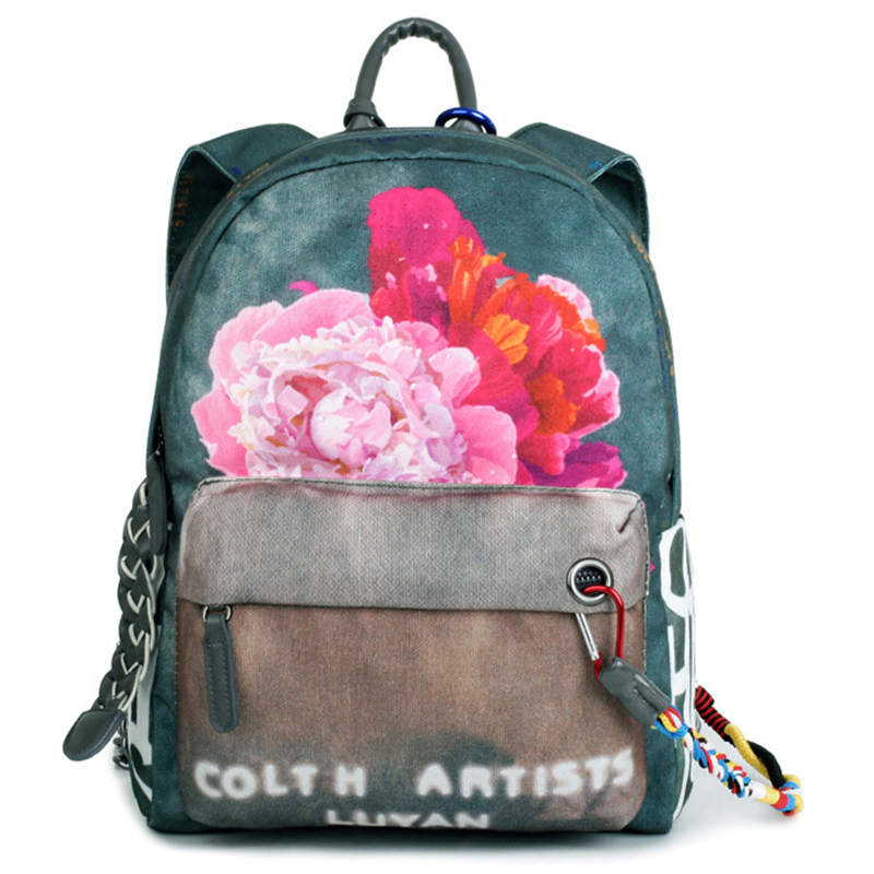 Floral Printing Backpack National Women School Backpacks For Teenage Girls Canvas Bagpack Mochila Feminina Casual Bag Escolar ranhuang women casual canvas backpack new 2017 women s fashion backpack school bags for teenage girls mochila feminina a695