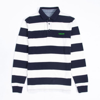 Mens Vegetarian Vegan Embroidered Knit Striped Long Sleeve Polo Shirts
