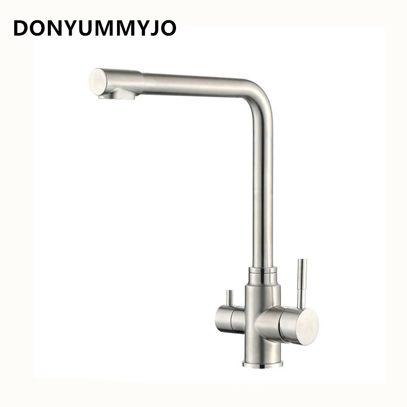DONYUMMYJO 1pc Kitchen Multifunction Net Faucet Wash Basin Hot and Cold 304 Stainless Steel Swivel Sink Faucet Taps With 2 Hoses super high quality 304 stainless steel hot and cold no lead brushed basin safe sink kitchen faucet with german technology