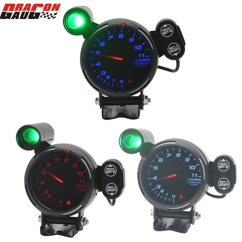 ドラゴンゲージ 80 ミリメートル高速ステッピングモータとシフトライトとピーク警告 1 に 8 シリンダータコメータゲージ 0-11000 rpm メーター