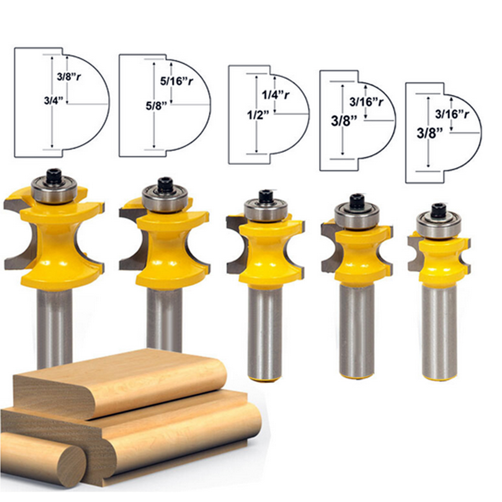 5PCS 1/2*1/4 -1/2*5/8 Carbide Bullnose Router Bit Set C3 Carbide Tipped 1/2 Shank Milling Cutter Wood Cutter Power Tools 5 2 1