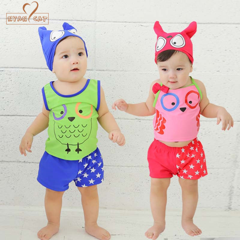 Nyan Cat 3pcs Swimsuits Children Swimwear Cartoon Cute OwlSwimsuit for Girls boys Swimming Suit 2018 infant bathing clothes