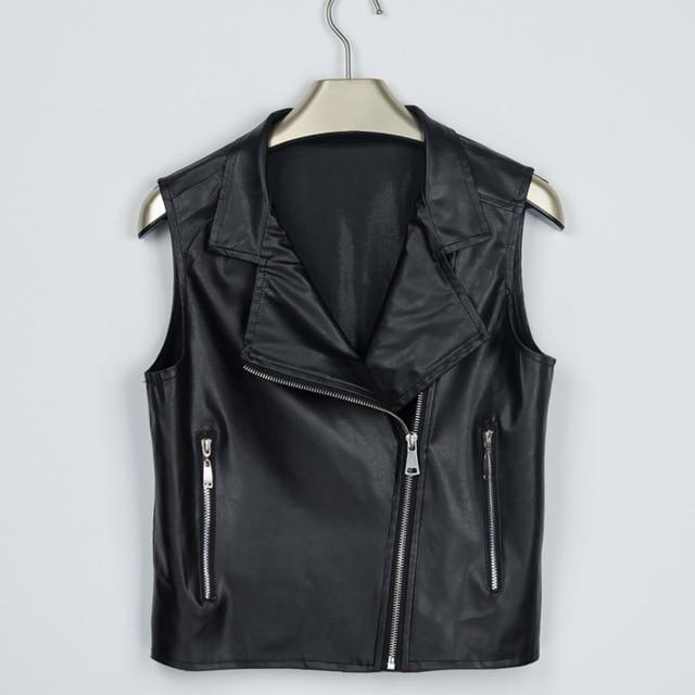 Women black Leather Vest PU Soft Vest Ladies tatical Leather Motorcycle Vest Pocket vest waistcoat Rivet female WaistCoat Biker